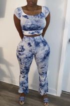 Peacock blue Polyester Fashion Sexy adult Ma'am Print Two Piece Suits Loose Sleeveless Two Pieces