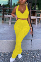 Yellow venetian Fashion adult England Ma'am Solid Two Piece Suits pencil Sleeveless Two Pieces