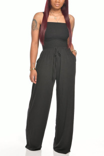 Black Fashion Casual Solid Polyester Sleeveless Wrapped Jumpsuits