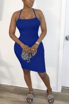 Royal blue Polyester Fashion adult OL White Black Orange Off The Shoulder Sleeveless Slip Step Skirt Knee-Length Patchwork Solid backless Dresses
