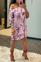 Pink Polyester Fashion adult Ma'am OL One Shoulder Half Sleeves one shoulder collar Asymmetrical Knee-Length Print Dresses