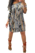 Grey Polyester Fashion adult Ma'am OL One Shoulder Half Sleeves one shoulder collar Asymmetrical Knee-Length Print Dresses