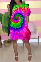 Pink Street Short Sleeves O neck Lantern skirt Knee-Length Print Tie and dye Dresses