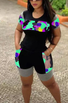 Black Polyester Fashion Casual adult Ma'am Patchwork Camouflage Two Piece Suits Straight Short Sleeve Two Pieces