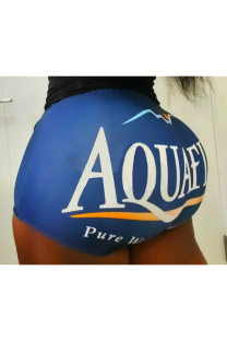 Blue Polyester Elastic Fly Low Letter Print Straight shorts Bottoms