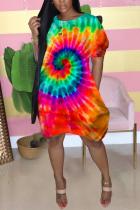Orange Street Short Sleeves O neck Lantern skirt Knee-Length Print Tie and dye Dresses