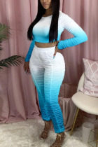 Light Blue Polyester Fashion Active adult Ma'am Gradient Two Piece Suits pencil Long Sleeve Two Pieces