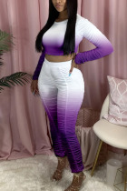 purple Polyester Fashion Active adult Ma'am Gradient Two Piece Suits pencil Long Sleeve Two Pieces