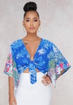 Blue Casual Print V-Neck Regular Half Belt Short No Coats & Cardigan