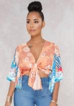 Orange Casual Print V-Neck Regular Half Belt Short No Coats & Cardigan