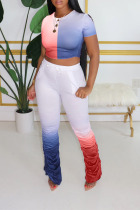 Red and blue Polyester Casual Gradient Regular Short Sleeve Two Pieces