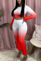 Red Polyester Fashion Active adult Ma'am Gradient Two Piece Suits pencil Long Sleeve Two Pieces