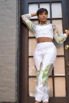 White Polyester Sexy Solid Loose Long Sleeve  Two-piece Pants Set