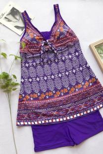purple Polyester Print backless Geometric Patchwork Striped Plaid Fashion Vintage  One-Piece Swimwear