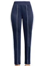 Royal blue Casual Active Patchwork Flat Straight Midweight Pants