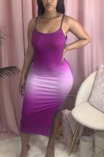 purple Fashion Sexy adult Ma'am Spaghetti Strap Sleeveless Slip Step Skirt Mid-Calf Ombre backless Dresses