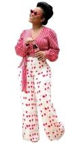 Red Fashion V-Neck Regular Full Striped Short Blouses & Shirts
