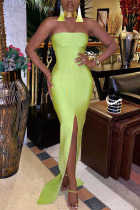 Light Green Polyester Fashion Sexy adult Ma'am Off The Shoulder Sleeveless Wrapped chest Step Skirt Floor-Length Solid Dresses
