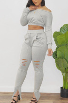 Light Gray Polyester Fashion Active adult Ma'am Patchwork Solid Hole Two Piece Suits pencil Long Sleeve Two Pieces
