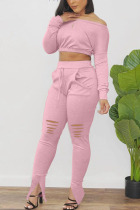Pink Polyester Fashion Active adult Ma'am Patchwork Solid Hole Two Piece Suits pencil Long Sleeve Two Pieces