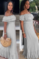 Grey Polyester Sexy Fashion Off The Shoulder Short Sleeves One word collar Step Skirt Floor-Length Solid
