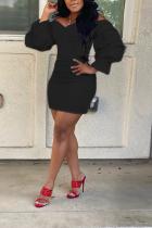 Black Casual Bell sleeve Long Sleeves V Neck Asymmetrical Mini Solid asymmetrical Dresses