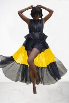 Black Polyester Fashion Sexy Cap Sleeve Sleeveless Turndown Collar Asymmetrical Ankle-Length perspective b