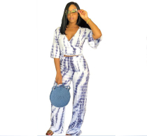 White Elastic Fly Mid Print Loose Pants  Two-piece suit