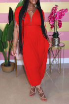 Red Sexy Patchwork Hollow Solid Chemical fiber blend Short Sleeve V Neck Jumpsuits