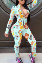White Fashion Sexy Print zipper Polyester Long Sleeve O Neck Jumpsuits