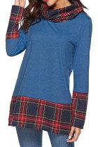 Blue O Neck Long Sleeve Plaid Patchwork  Long Sleeve Tops
