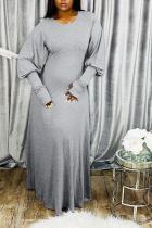 Grey OL Long Sleeves O neck Lantern skirt Ankle-Length Solid Dresses