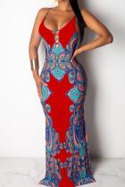 Red Polyester OL Spaghetti Strap Sleeveless V Neck Pencil Dress Floor-Length Bowknot Print backless Dresses