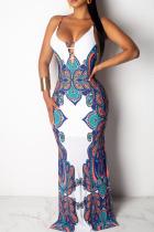 White Polyester OL Spaghetti Strap Sleeveless V Neck Pencil Dress Floor-Length Bowknot Print backless Dresses