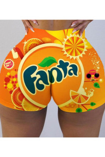 Orange Polyester Elastic Fly Low Print Straight shorts Bottoms