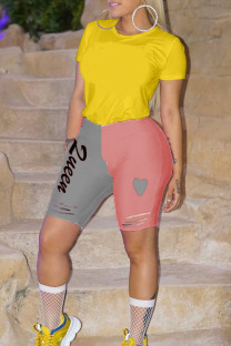 Pink gray Polyester Drawstring Low Letter Skinny Capris Bottoms