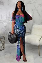 Sky Blue Polyester Fashion Sexy Off The Shoulder Short Sleeves One word collar Mermaid Floor-Length Draped Pr