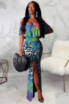 Turquoise Polyester Fashion Sexy Off The Shoulder Short Sleeves One word collar Mermaid Floor-Length Draped Pr
