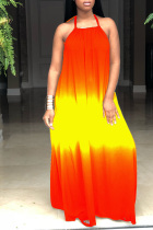 Red and yellow England Spaghetti Strap Sleeveless Halter Neck Swagger Floor-Length Print Ombre Dresses