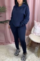 Navy Blue Polyester Fashion Active adult Ma'am Patchwork Solid Two Piece Suits pencil Long Sleeve Two Pieces