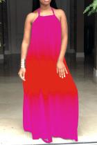 Pink England Spaghetti Strap Sleeveless Halter Neck Swagger Floor-Length Print Ombre Dresses