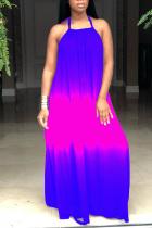 Powder blue England Spaghetti Strap Sleeveless Halter Neck Swagger Floor-Length Print Ombre Dresses