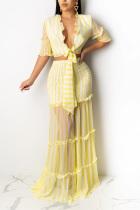 Yellow Casual 3/4 Length Sleeves V Neck Slim Dress Floor-Length Striped Print Patchwork Dresses