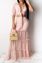 Light Pink Casual 3/4 Length Sleeves V Neck Slim Dress Floor-Length Striped Print Patchwork Dresses