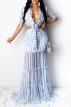 Light Blue Casual 3/4 Length Sleeves V Neck Slim Dress Floor-Length Striped Print Patchwork Dresses