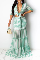 Green Casual 3/4 Length Sleeves V Neck Slim Dress Floor-Length Striped Print Patchwork Dresses