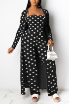 Black OL Dot Patchwork Print contrast color Fluorescent Straight Long Sleeve Two Pieces