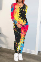 Black and red Spandex Fashion adult Ma'am OL Patchwork Print Two Piece Suits pencil Long Sleeve Two Pieces
