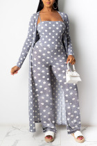 Grey OL Dot Patchwork Print contrast color Fluorescent Straight Long Sleeve Two Pieces