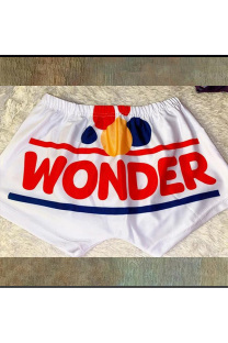 White Polyester Elastic Fly Low Print Straight shorts Bottoms